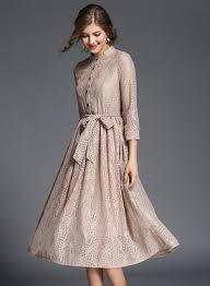 midi dress 3 4 sleeve lace midi dress with belt novashe