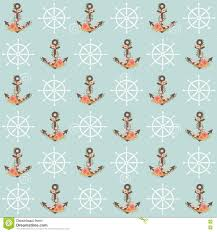 nautical wrapping paper floral anchor seamless pattern stock vector illustration of