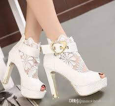 wedding shoes ankle pink white lace wedding heels bridal shoes buckle chunky