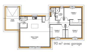 plan maison 3 chambres plain pied garage nouveau plan de maison plain pied 3 chambres artlitude