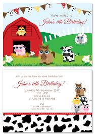personalised halloween party invitations farm animal party personalised party invitations custom printed