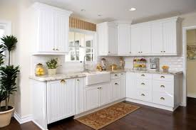 L Shaped Kitchen Using White Beadboard Cabinet Doors And Apron - Different kinds of kitchen cabinets