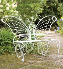 White Metal Outdoor Bench White Metal Butterfly Bench Benches Plow U0026 Hearth