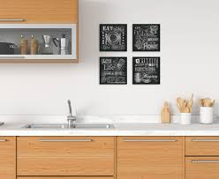 black and white prints for kitchen gango home decor chalkboard kitchen sign wall four black white 8x8in unframed paper prints walmart