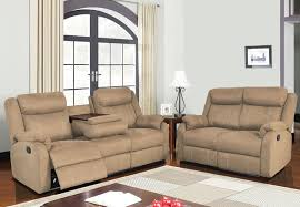dual reclining sofa with drop down table and reclining loveseat
