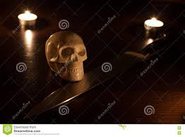 halloween street background skull and knife stock photo image 78728962
