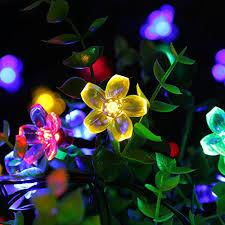 Outdoor Christmas Decorations Solar Lighting by Qedertek Fairy Blossom Flower Solar String Lights 21ft 50 Led