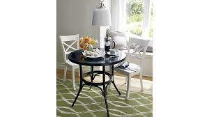 Black Bistro Table And Chairs Vintner White Wood Dining Chair And Cushion Crate And Barrel