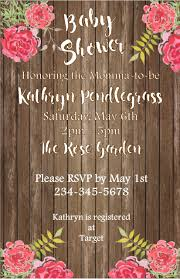 Baby Shower Invitations And Thank You Cards Rustic Floral 5