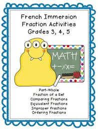 french immersion fraction worksheets grade 3 4 5 by irene priest