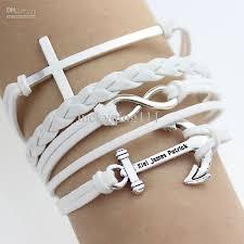 white leather bracelet images 2018 white new cross anchor leather bracelet rope chain bracelet jpg