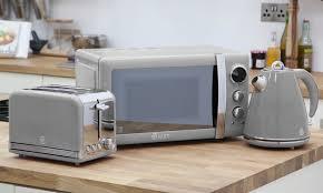 Microwave And Toaster Set Swan Three Piece Kitchen Set Groupon