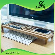 ecran bureau retourn bamboo monitor riser large size laptop tv printer desktop stand
