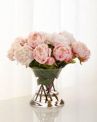 Faux Peonies Glass Faux Floral Decor Neiman Marcus