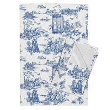 toile de jouy blue police boxes tea towels by debi birkin