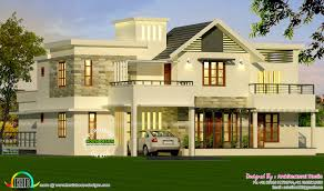 4 bedroom modern style sloping roof mix home kerala home design