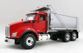 first gear 50 3279 kenworth t880 dump truck viper red silver 1