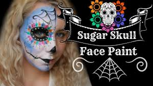Halloween Skull Face Makeup by Sugar Skull Day Of The Dead Halloween Face Paint Make Up