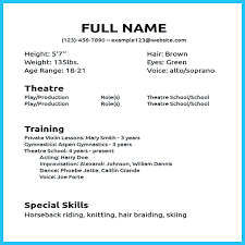 Special Skills In Resume Examples by Impressive Actor Resume Sample To Make