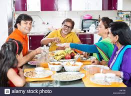 Dining Table With Food Happy Indian Family Dining Table Food Lunch At Home Stock