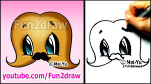 mustache with a mustache cute cartoon drawing art lesson