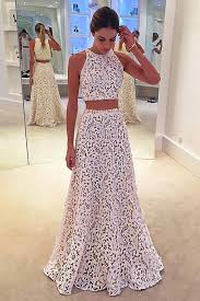 white lace prom dress two a line sleeveless floor length white lace prom dress