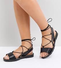 asos fizzle wide fit jelly tie leg sandals in black lyst