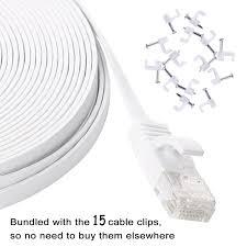 amazon com cat 6 ethernet cable 50 ft white u2013 flat internet