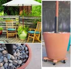 Diy Patio Umbrella Stand Diy Cinder Block Umbrella Stand With Potted Plants Outside