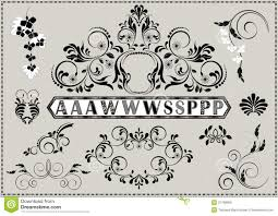 collection of calligraphy patterns and letters with ornaments