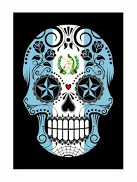 sugar skull with roses and flag of guatemala prints by jeff