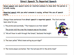 direct speech to reported speech worksheet by nayanmaya teaching