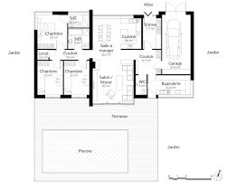 plan maison 3 chambres plain pied garage plan maison contemporaine de plain pied avec 3 chambres ooreka