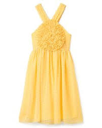 traditional yellow flower dress with sash brown could be