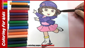 dora ice skating coloring pages coloring tutorial video from