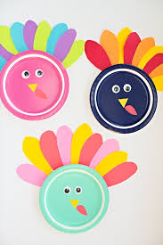 hello wonderful colorful turkey paper plate craft