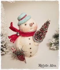 primitive folk art paper clay holiday season believe snowman doll