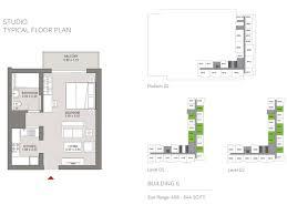 floor plan studio type hartland aflux mbr city sobha group floor plan details