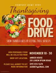 thanksgiving food drive flyer template postermywall