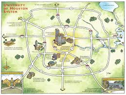 Downtown Houston Map John Roman Artwork Graphics Architecture