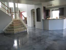 flooring sealed concrete floor with white paint bar also metal