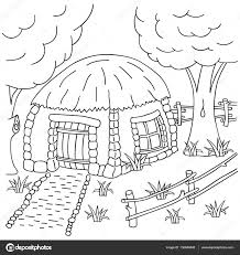 hand draw village house behind the fence coloring book page for