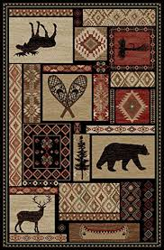 Moose Area Rugs Rustic Lodge Moose Deer Panel 5x8 Area Rug 5