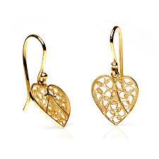 yellow gold earrings yellow gold filigree heart earrings by arabel lebrusan