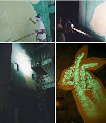 clever glow in the dark murals by art collective reskate