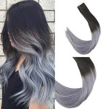 hair extensions ombre black to blue grey seamless in hair extensions
