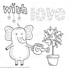 elephant love coloring page elephant in love with love coloring pages getcoloringpages org