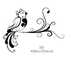 curly tail bird floral wall sticker decal wall art stencils