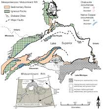 Map Of The Upper Peninsula Of Michigan The Mesoproterozoic Copperwood Sedimentary Rock Hosted Stratiform