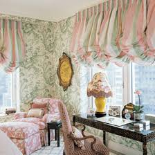 bedroom with wallpaper and stripes balloon valances beautiful